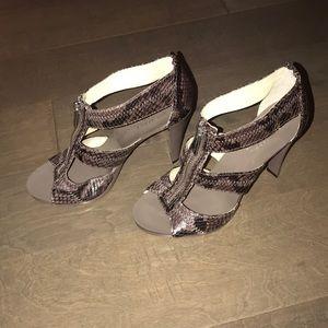 Michael Kors brown snakeskin zipper heel